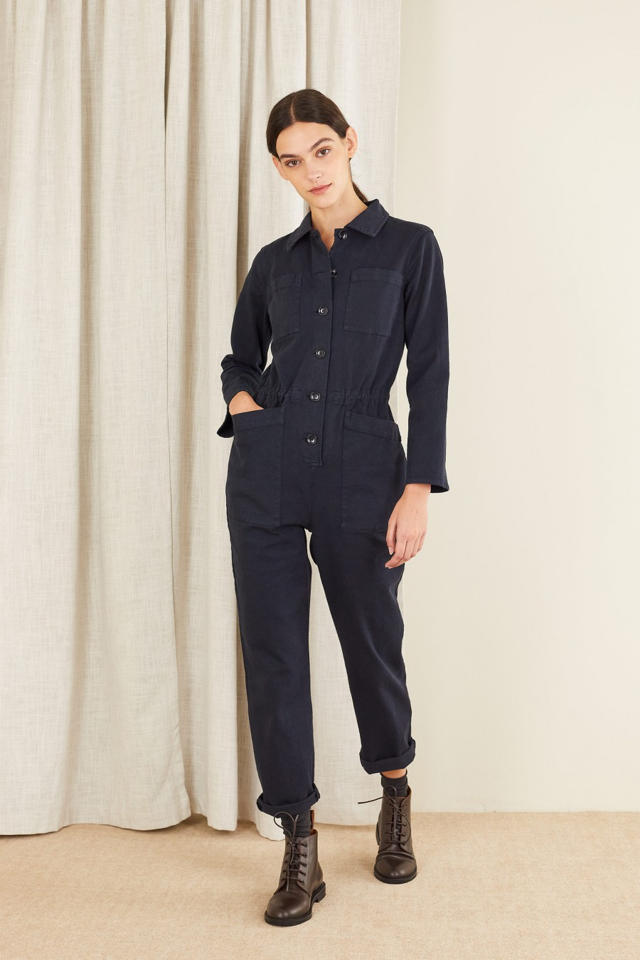 blue work jumpsuit