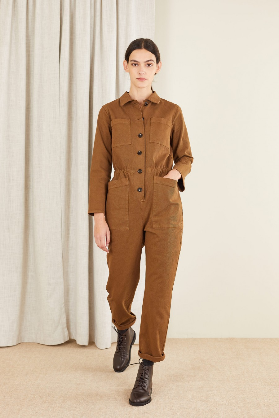 brown cotton jumpsuit