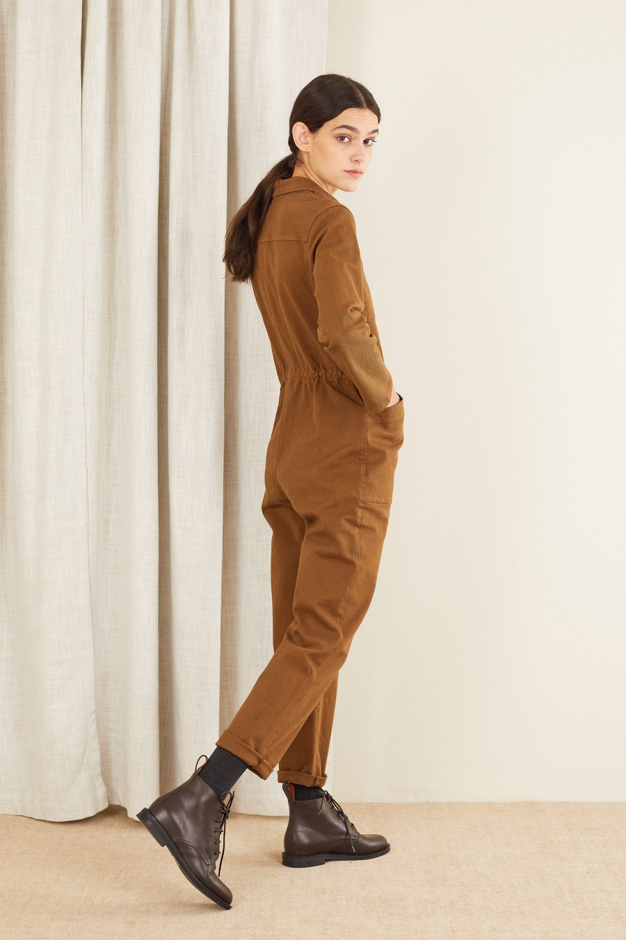 brown casual work suit