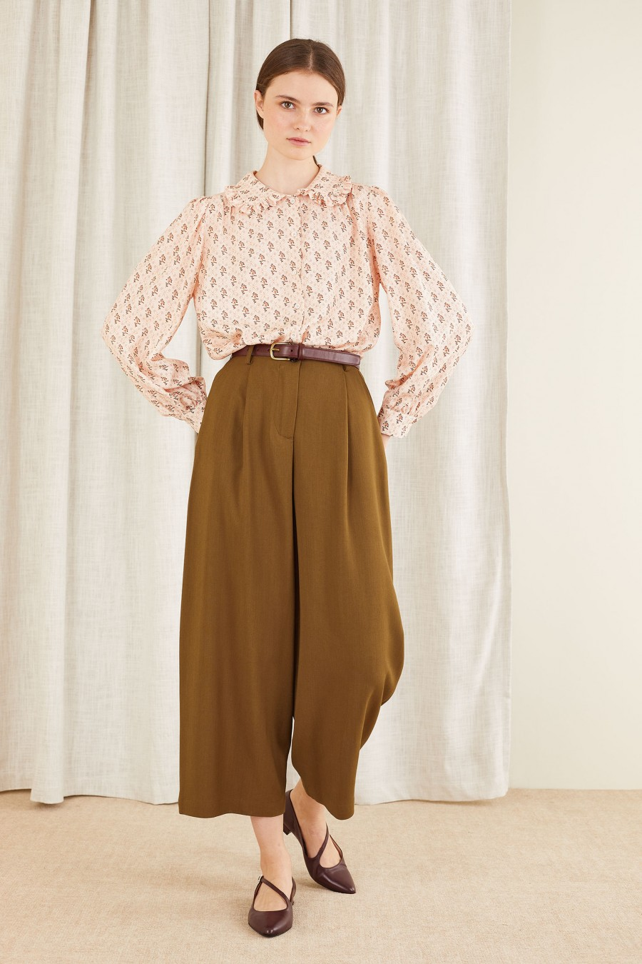 biscuit brown wide trousers