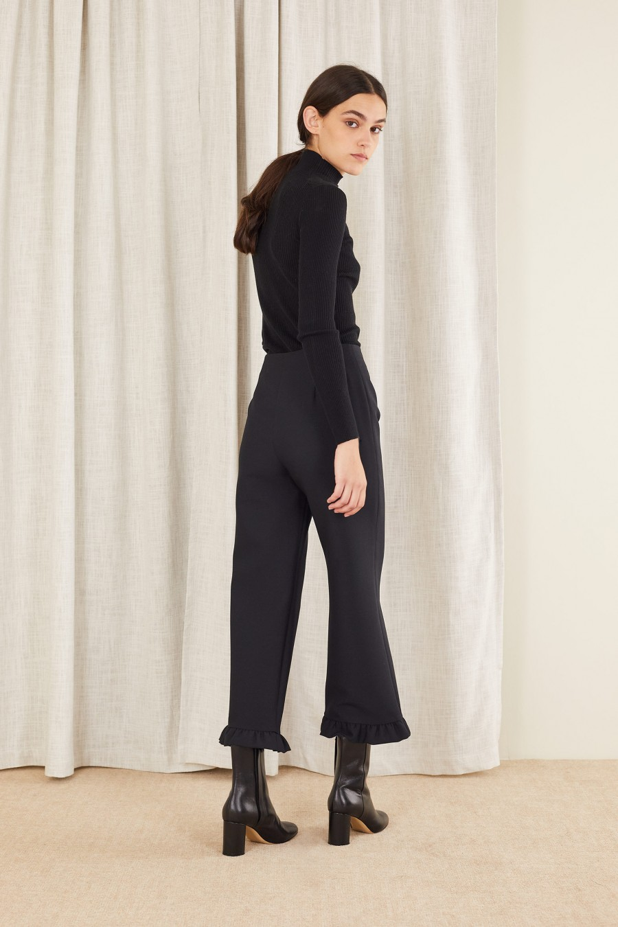 made in italy ruffle hem trousers