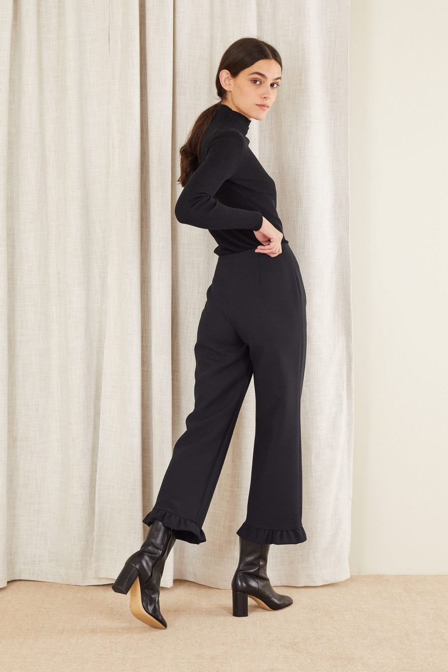 ruffle hem trousers and ankle boots