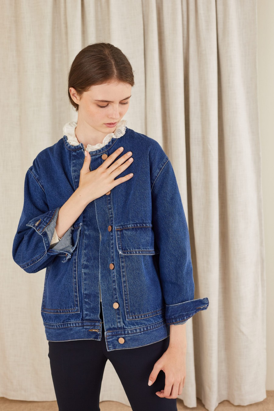 giacca larga in denim girocollo