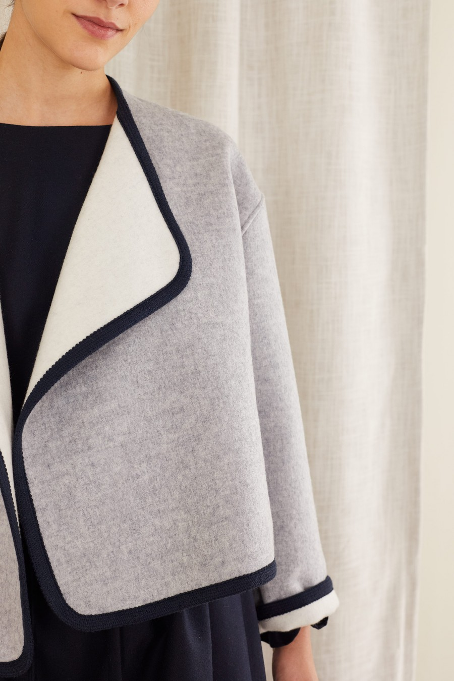 grey and white cashmere jacket