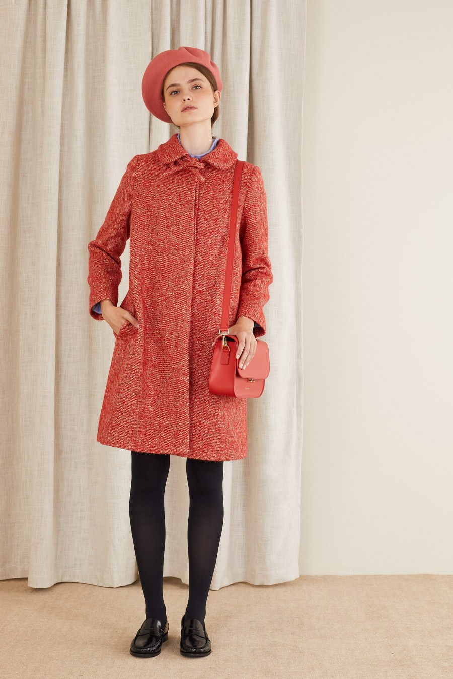 red tweed coat with bow