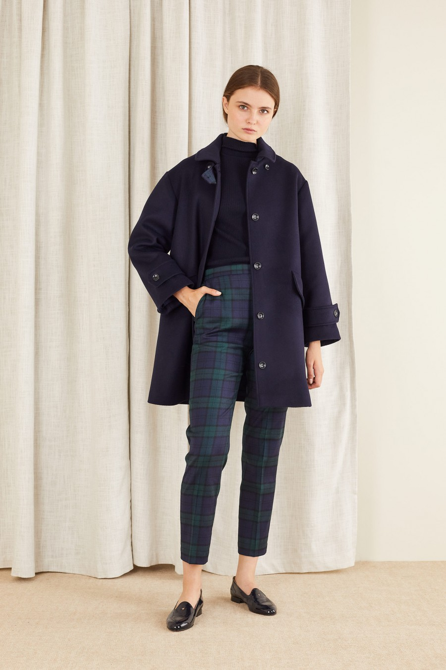 Wool jacket with martingale and tartan inserts