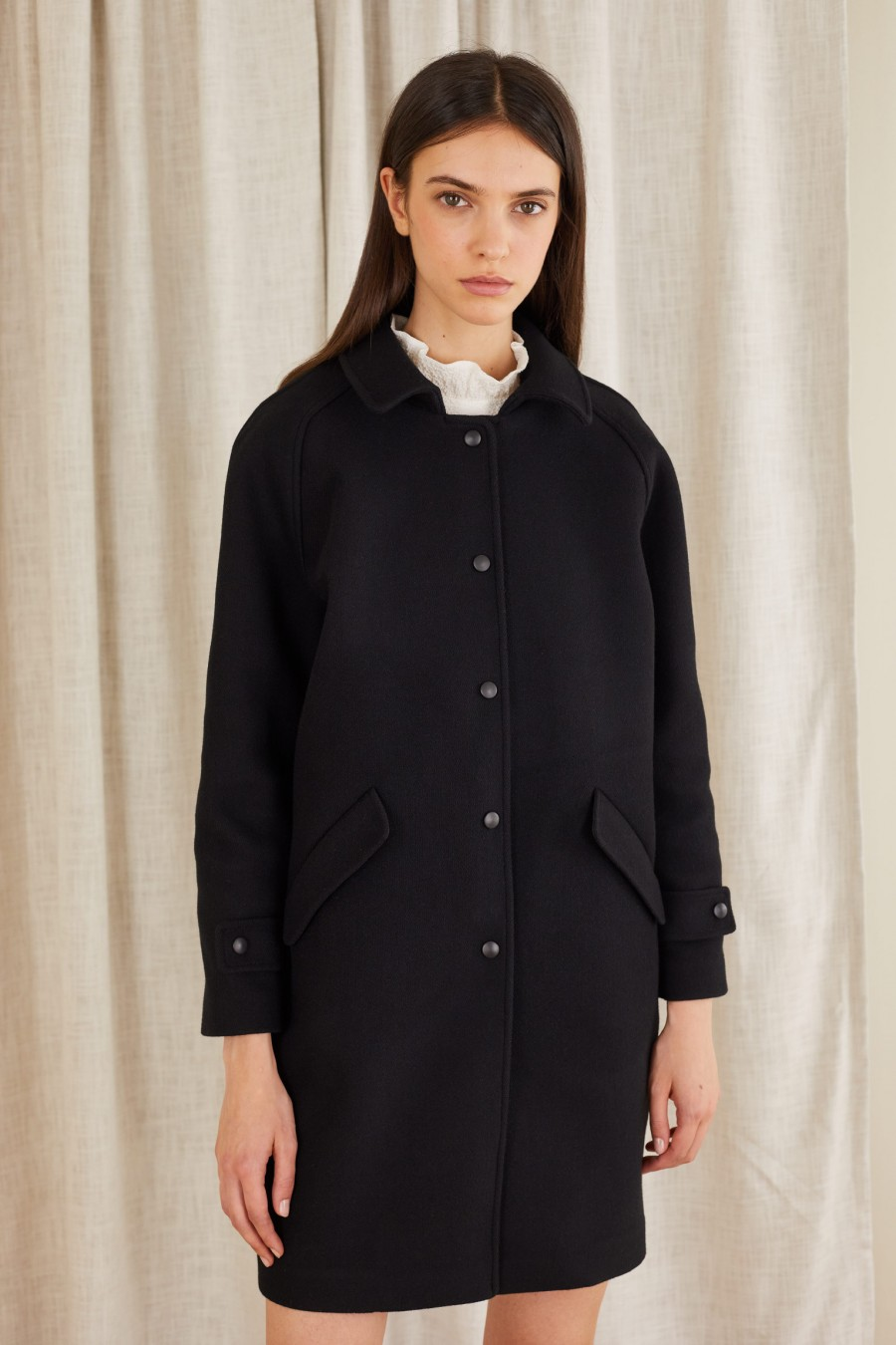 wool coat with small snaps