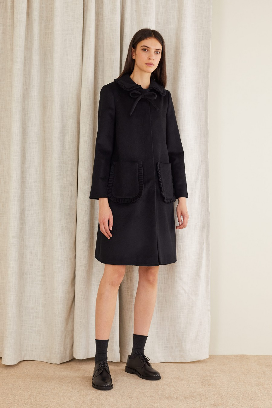 black cashmere coat for winter