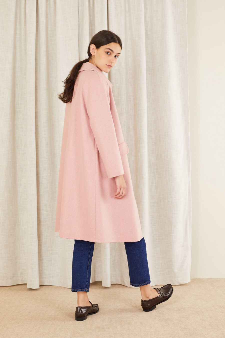 pink wool coat for winter