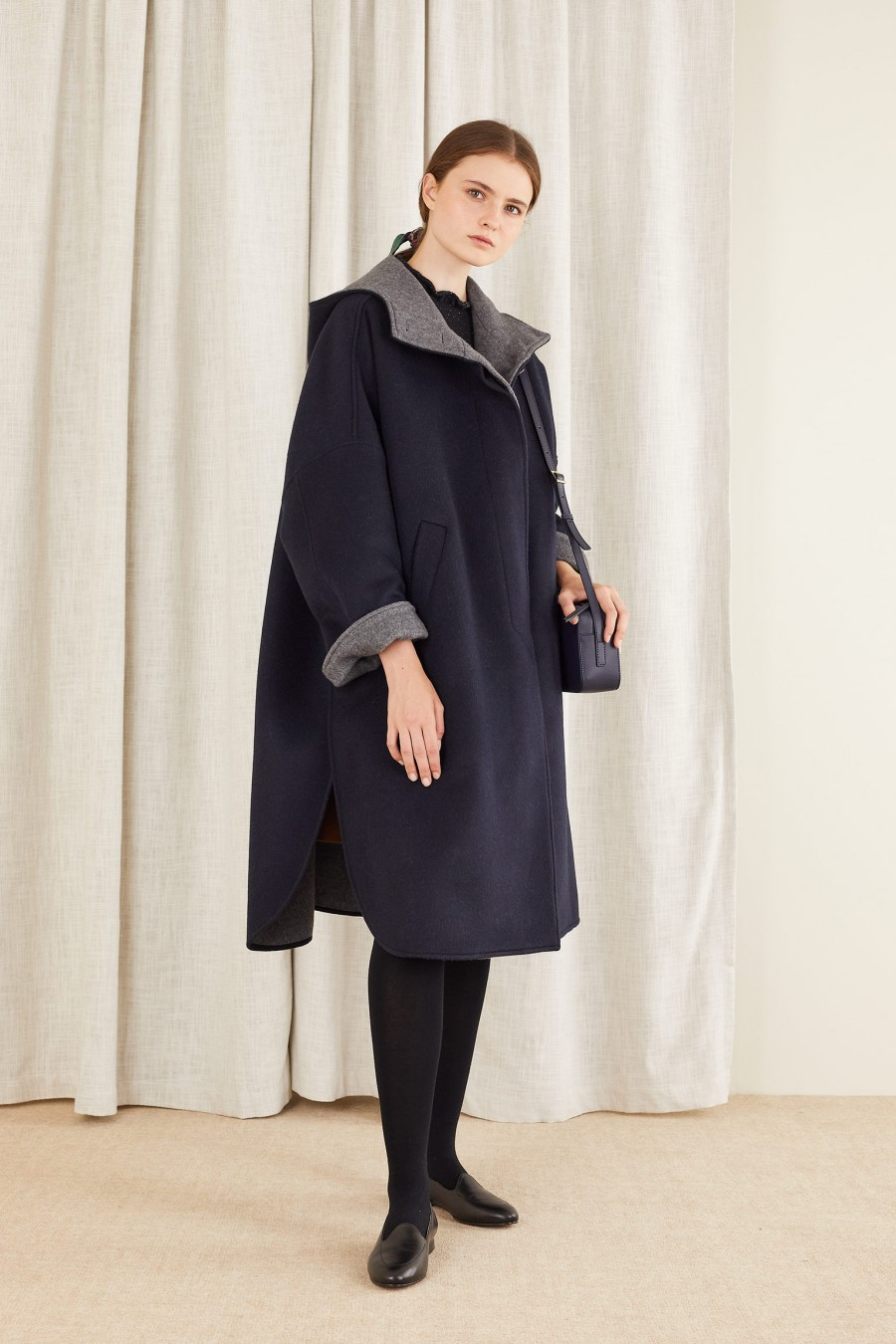 long cape coat in cashmere