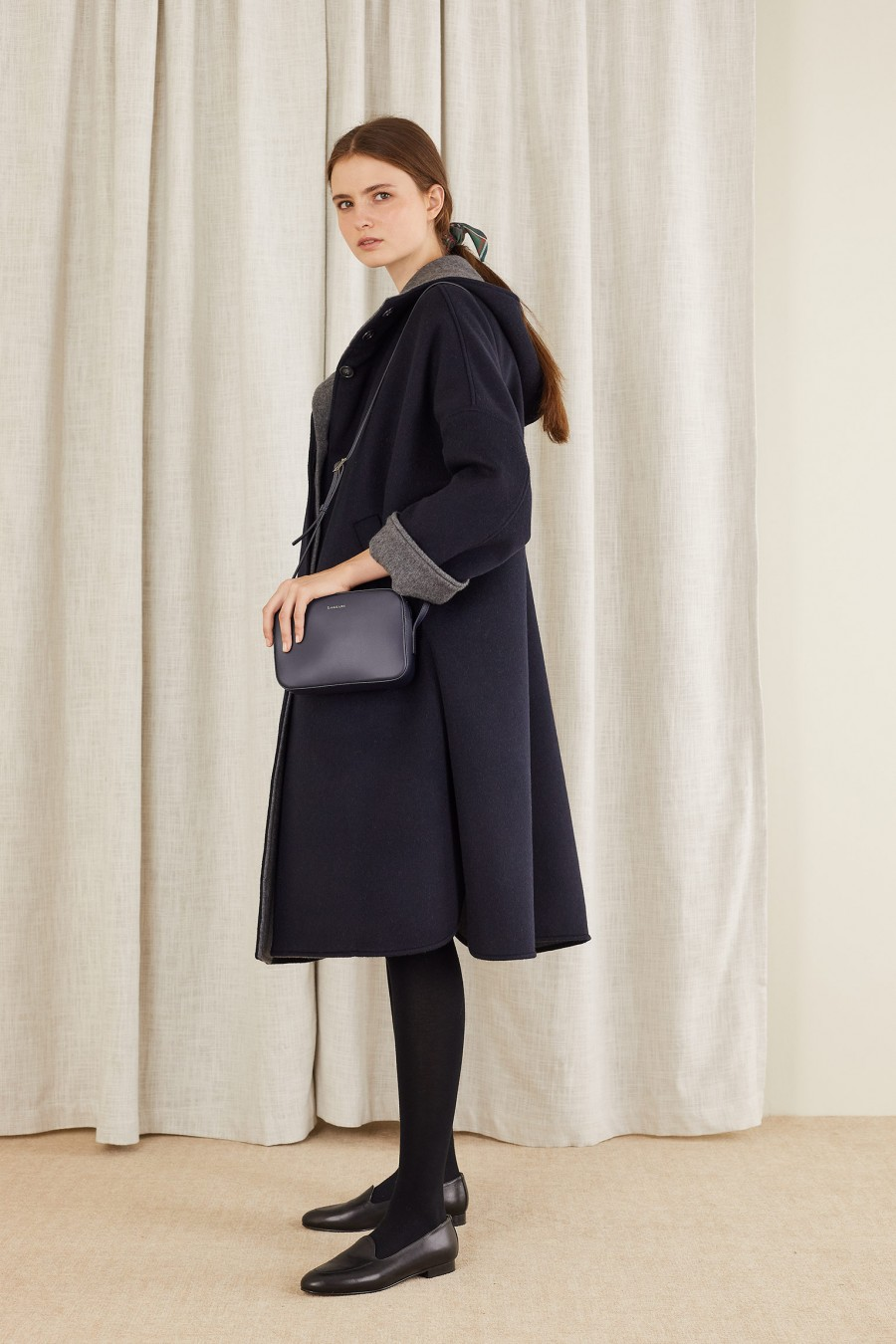 hooded heavy coat in cashmere