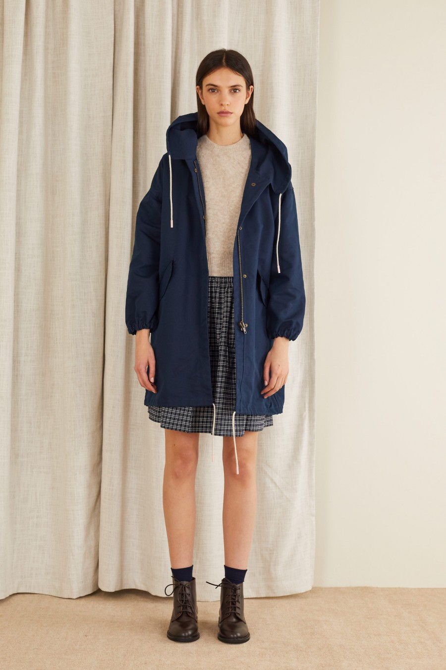 blue parka in technical fabric