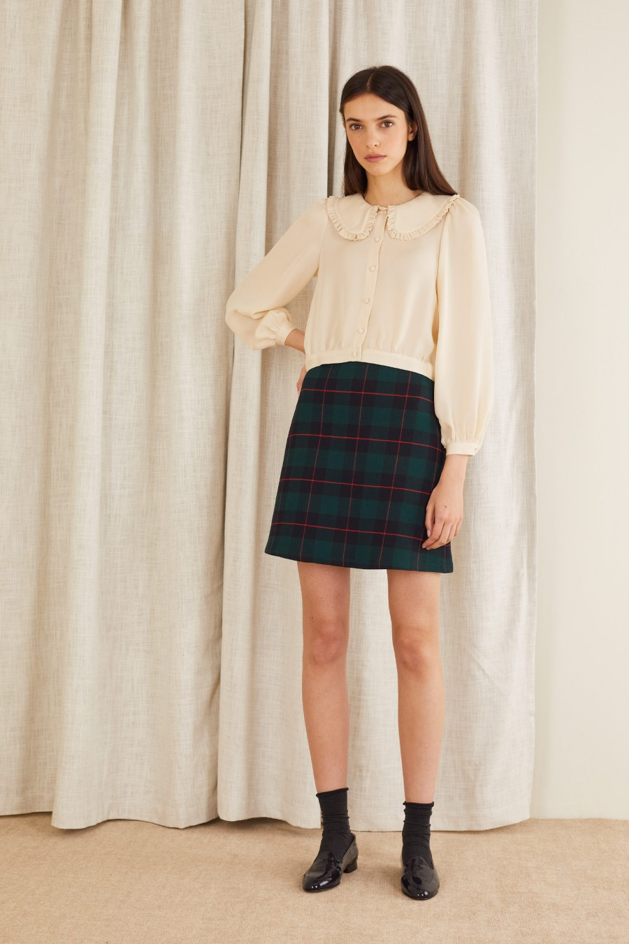 A-line skirt in stretch double fabric