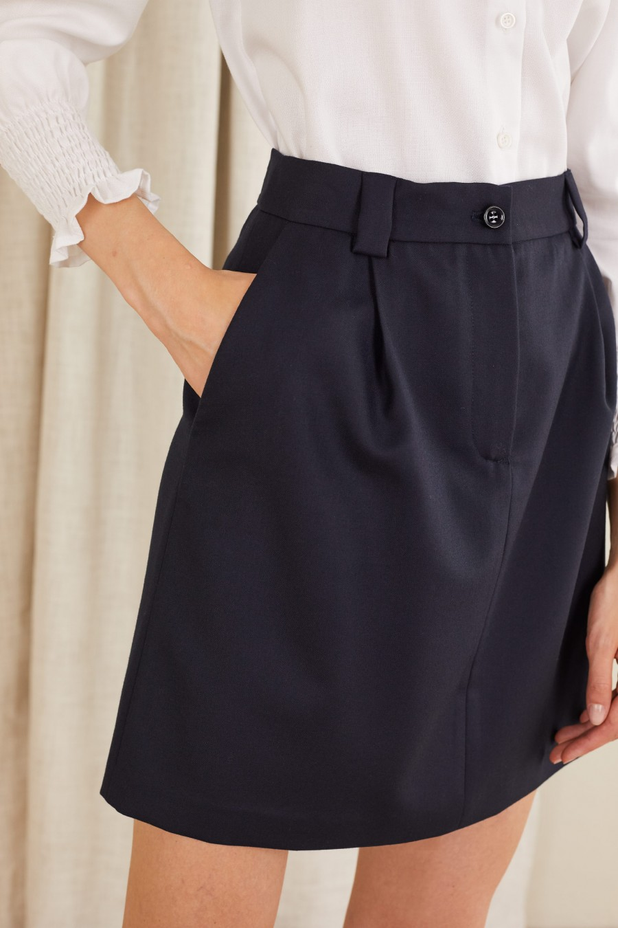 Skirt with pintucks and belt loops