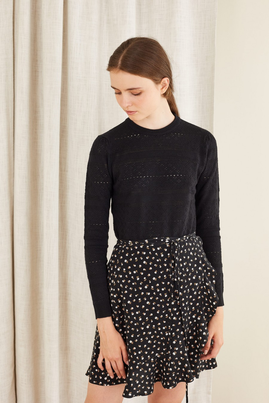 wrap skirt with white flowers on black