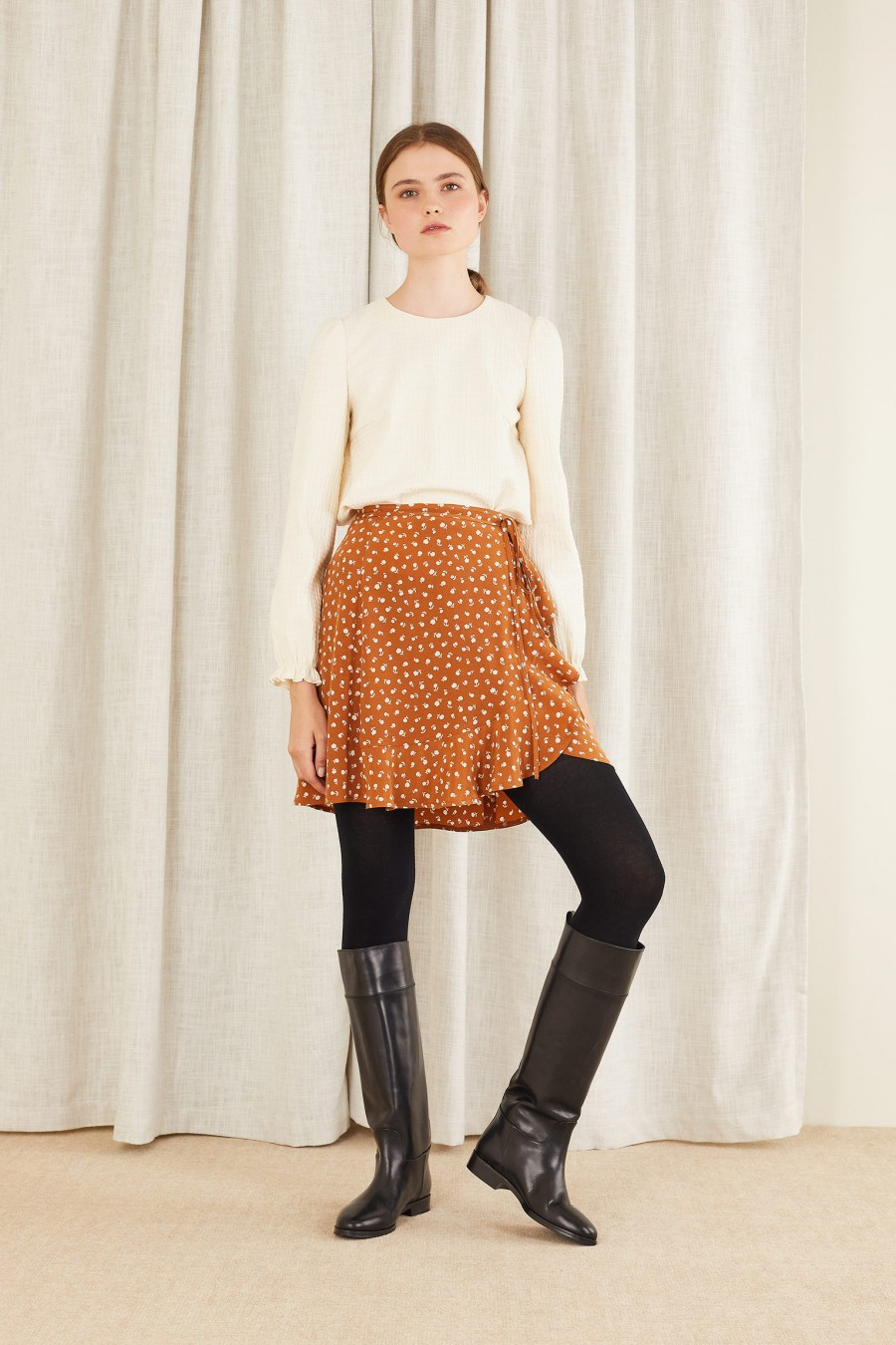 brown wrap skirt with flowers