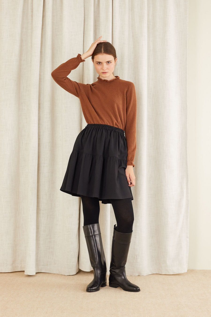 black tiered skirt with elastic waistband
