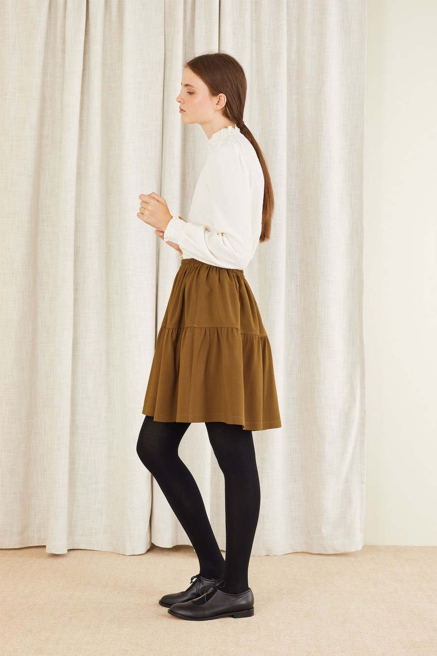biscuit brown high waisted skirt