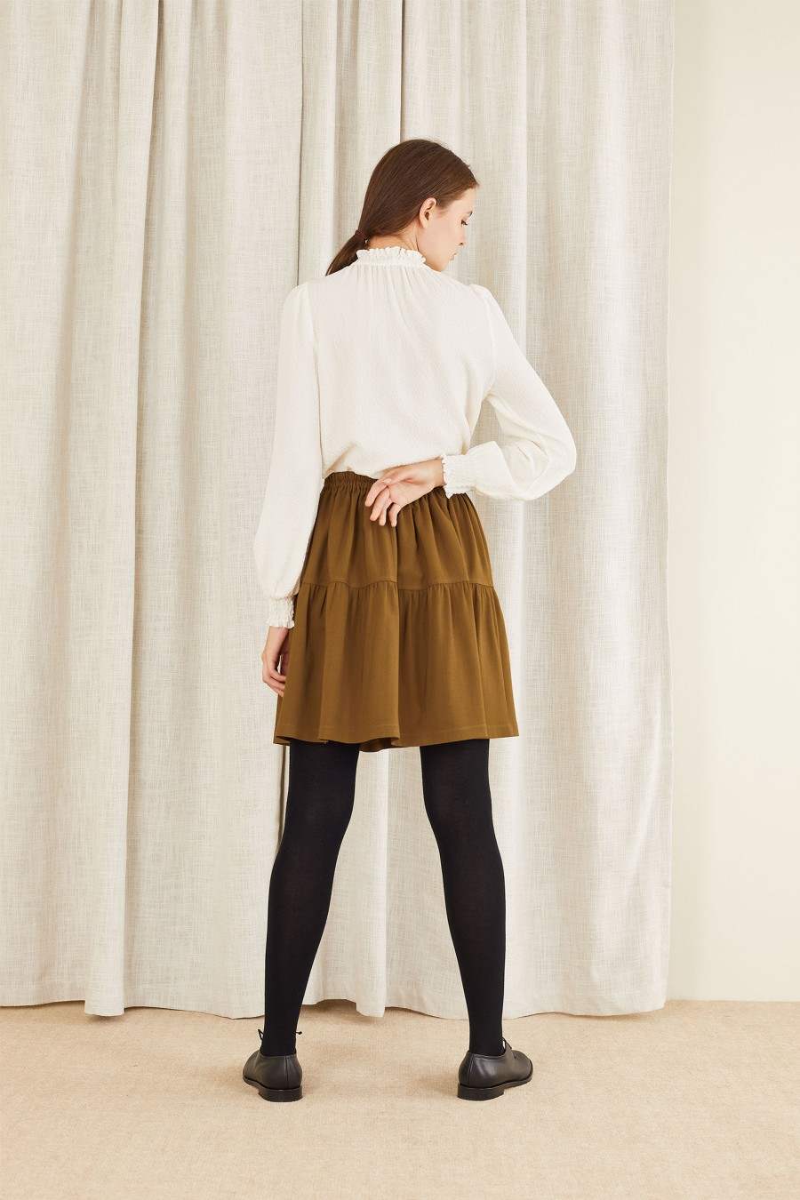 brown tiered skirt with elastic waistband