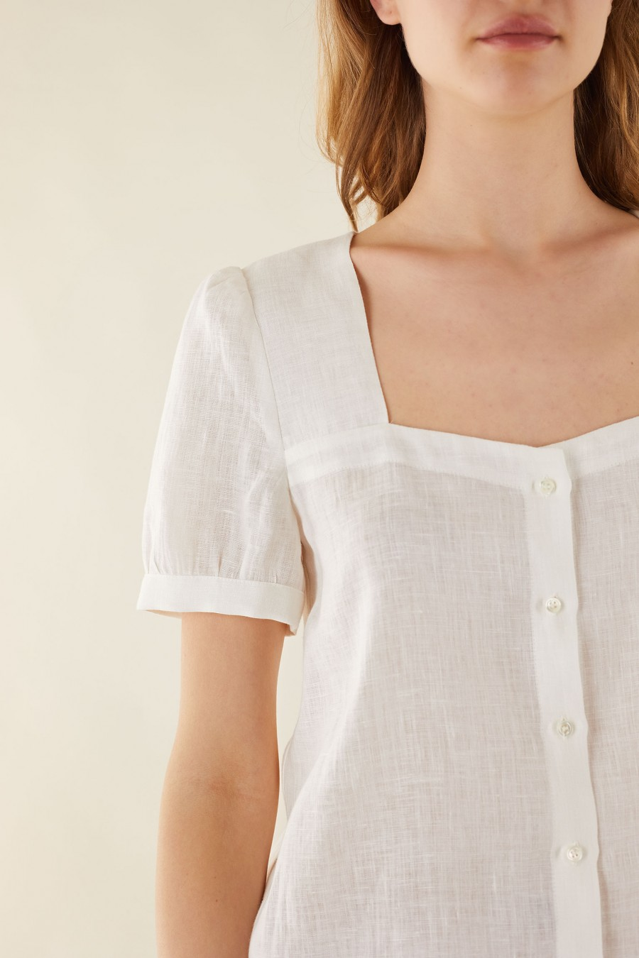 white square neck shirt with buttons