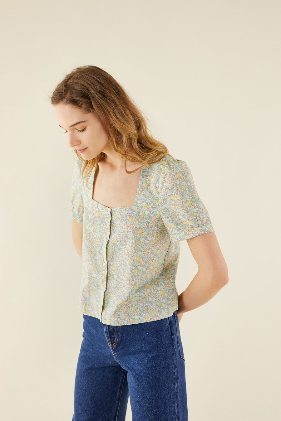 square-neck top with liberty prints