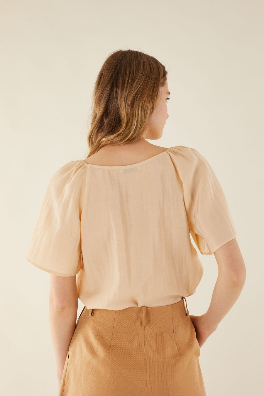 cream shirt with wide sleeves