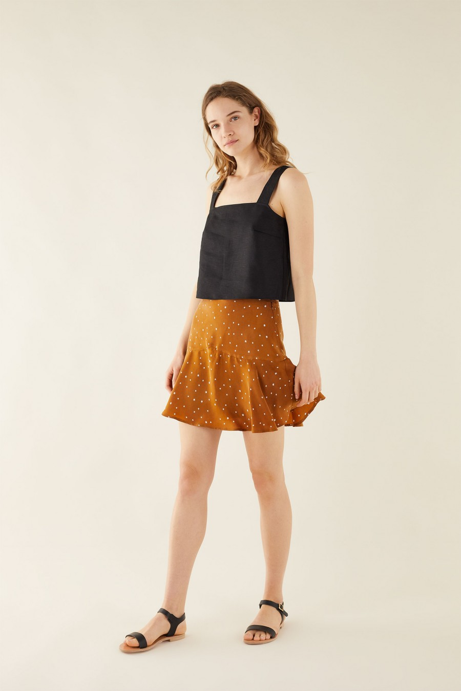 biscuit brown mini skirt