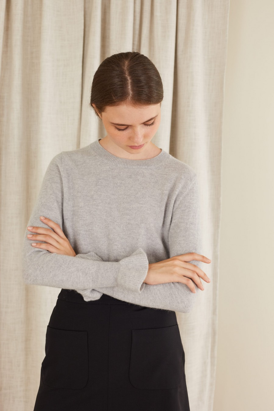 crew-neck jumper with ruffles