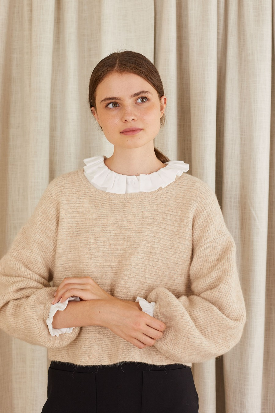 beige chunky ribbed-knit jumper