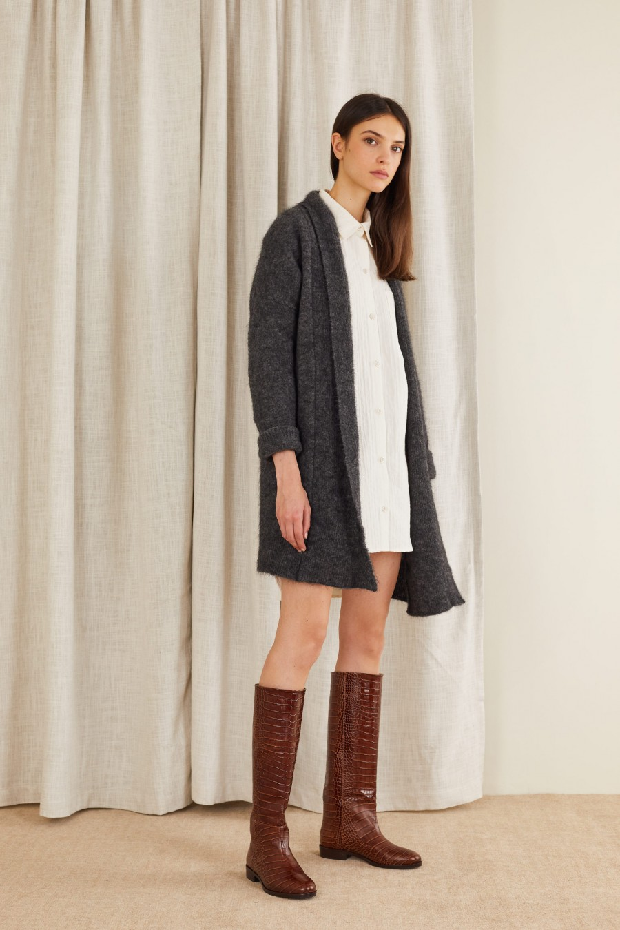Long cardigan in stretch mohair