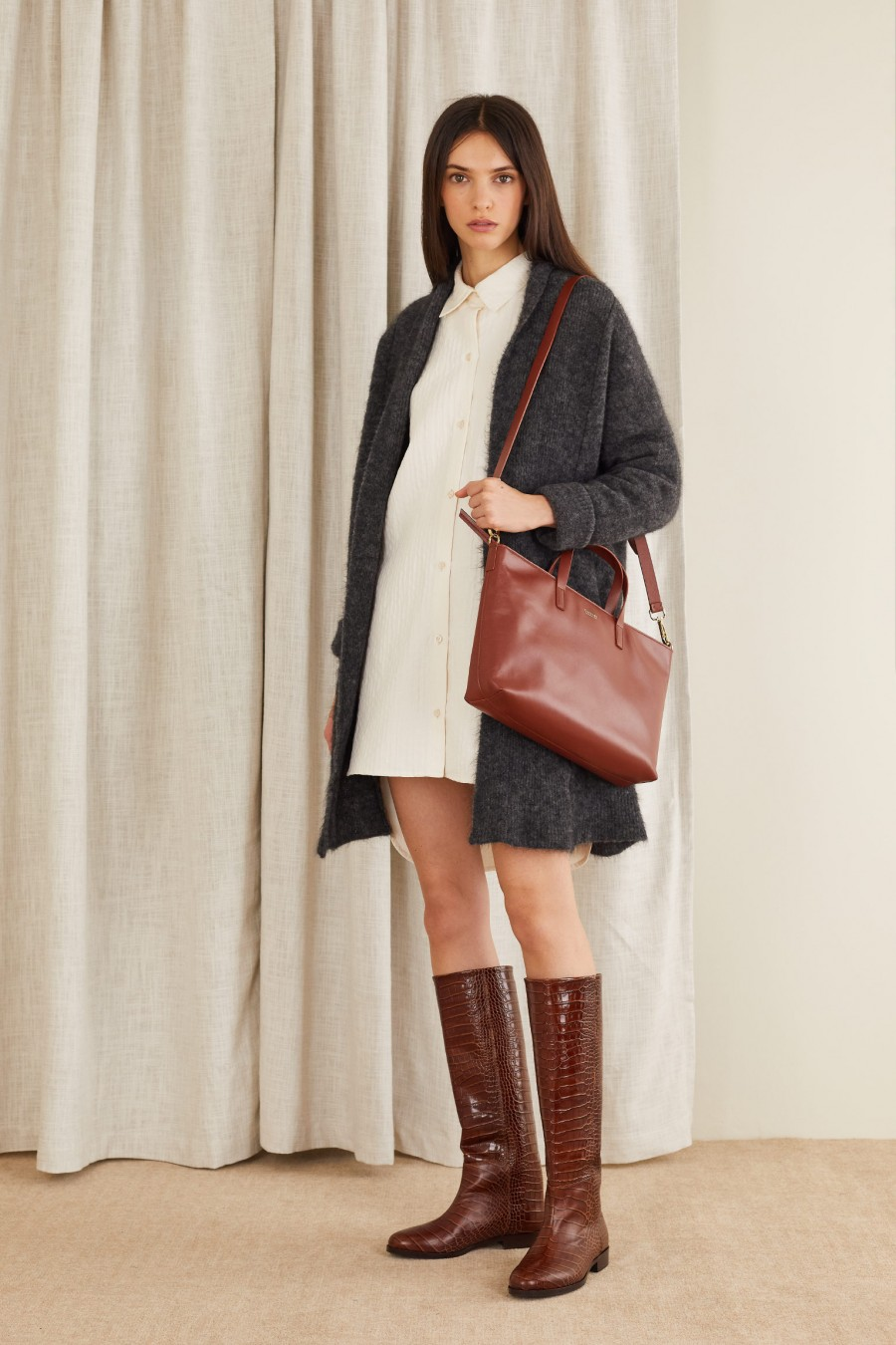 warm cardigan with leather boots
