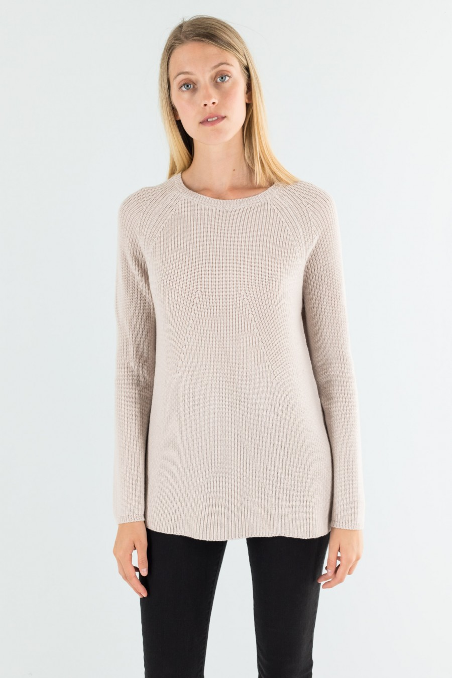 Beige crew-neck pullover in English rib patern