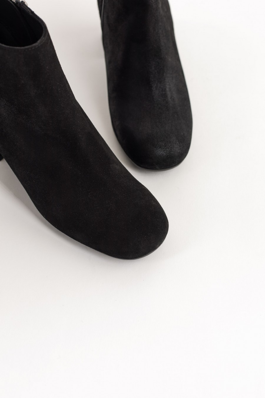 Black rounded toe ankle boots