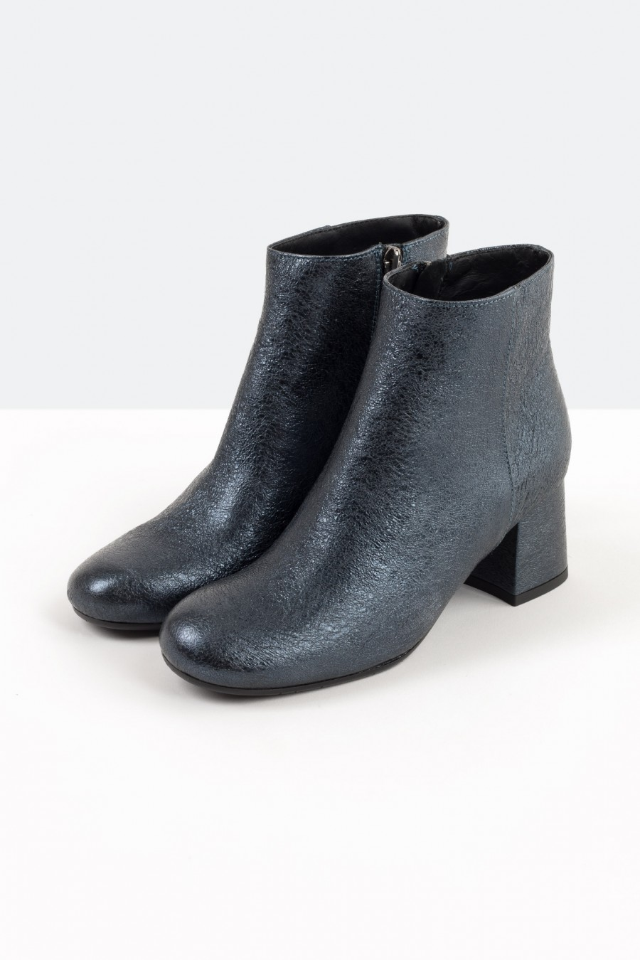 Metallic blue ankle boots
