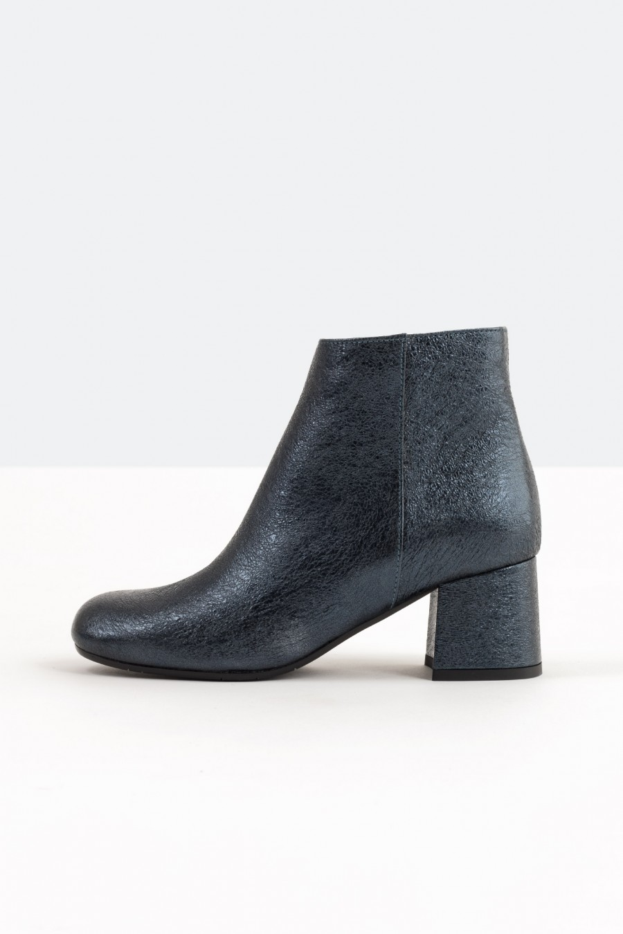 Blue metallic leather ankle boots