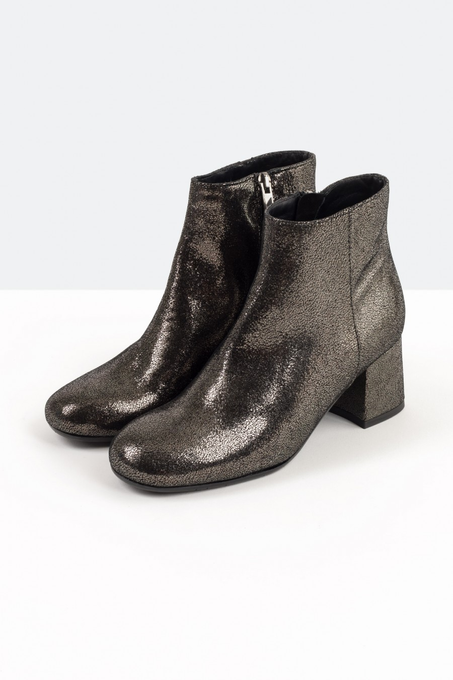 Black metallic ankle boots