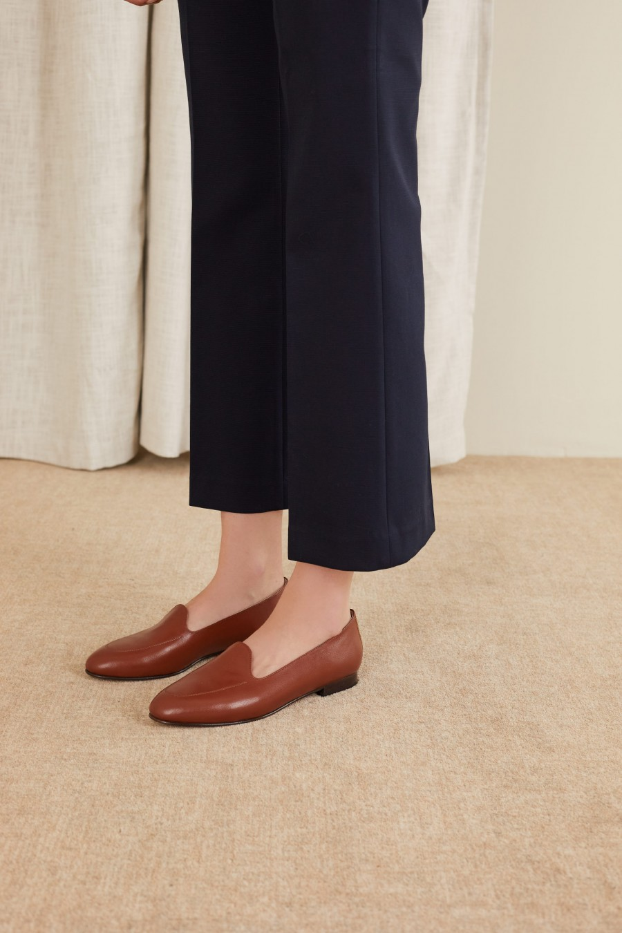 comfortable loafers in brown nappa leather