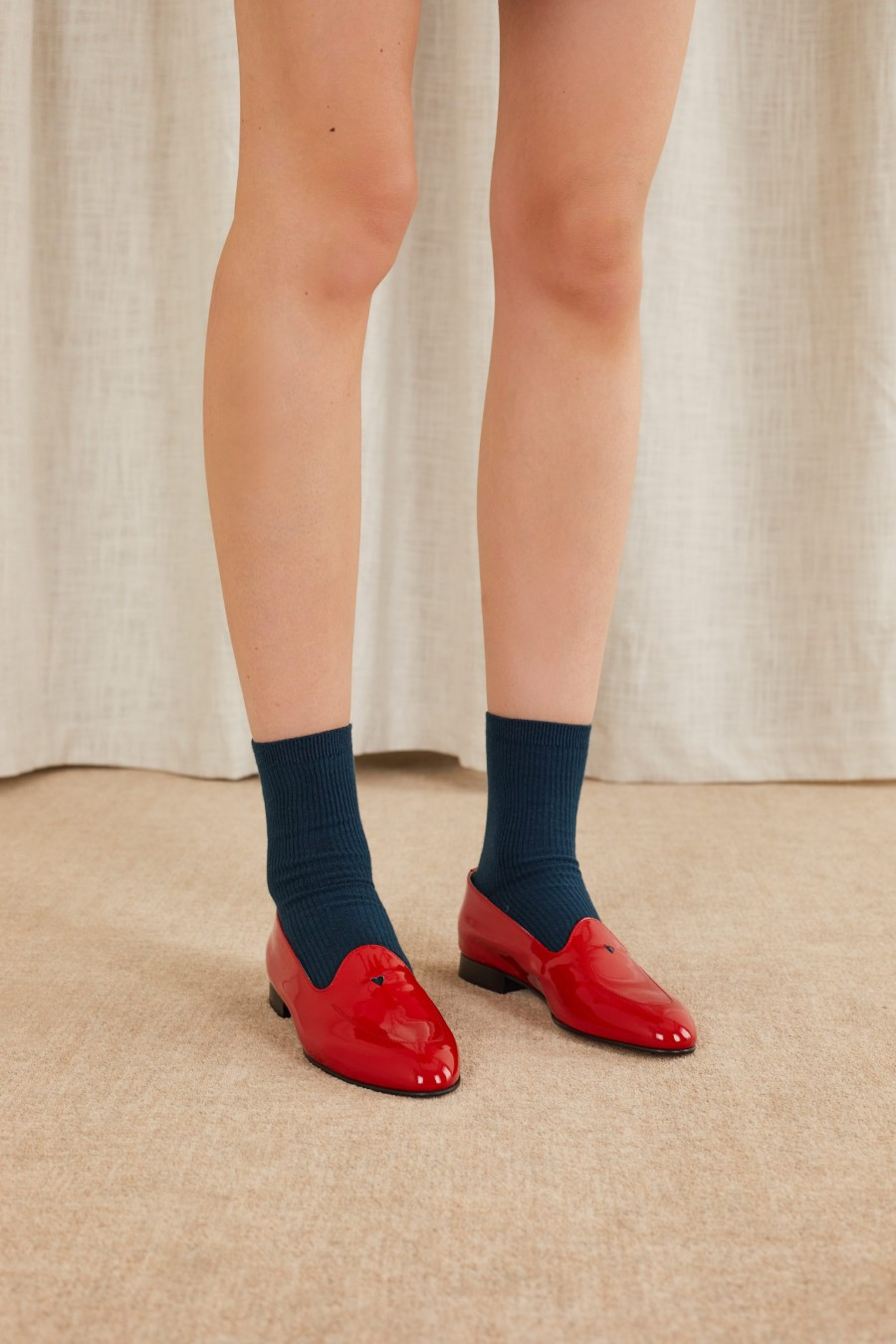 Patent leather loafers with die-cut heart