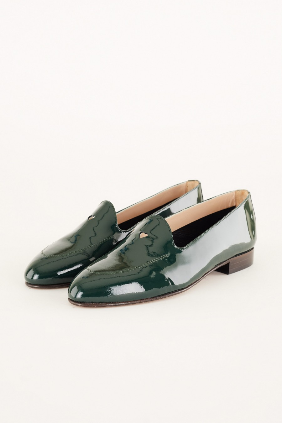loafers in dark green patent leather