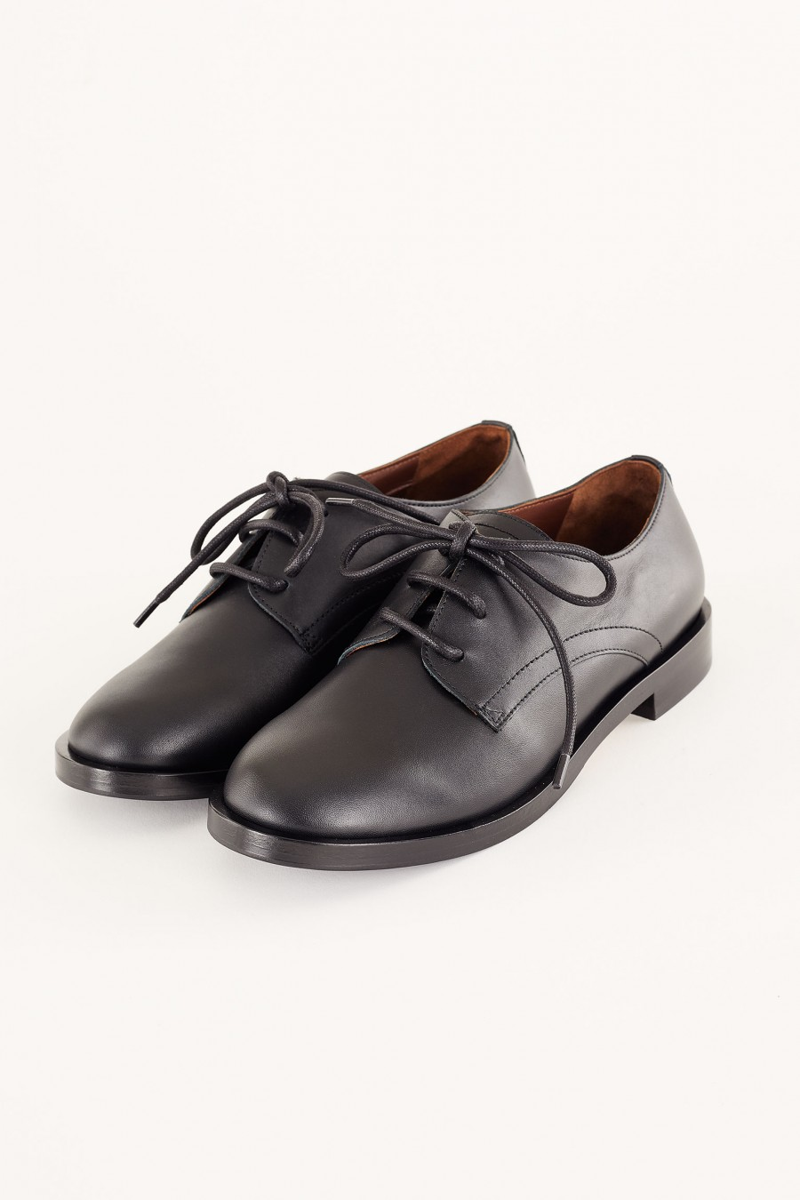 black leather rounded derby shoes