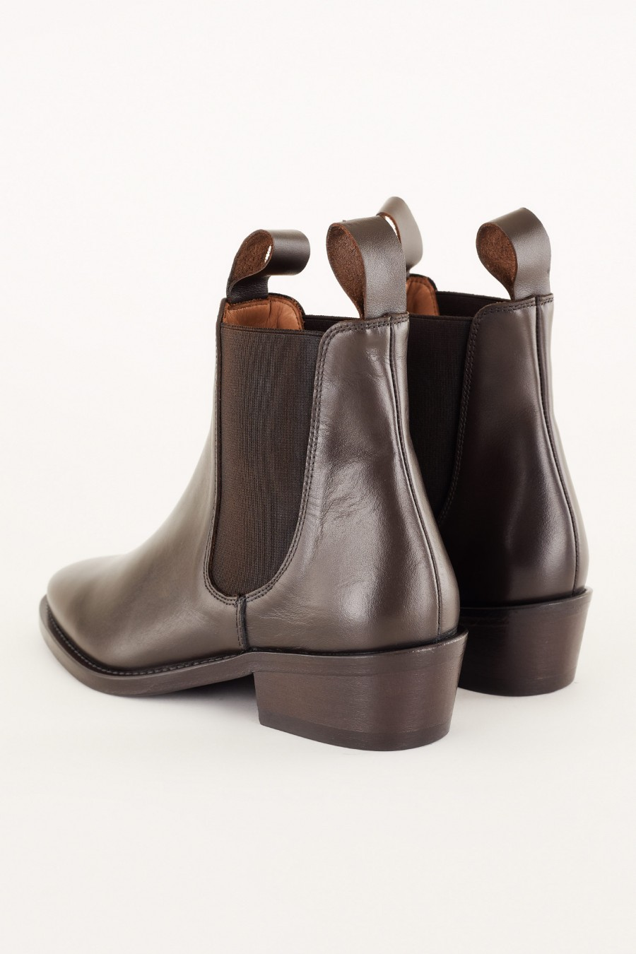 brown leather ankle boots with low heels