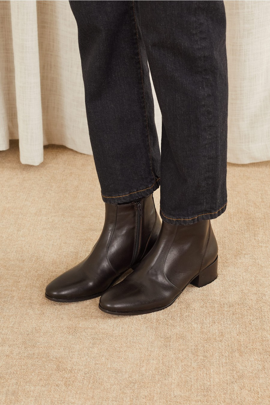 Wide heel ankle boots
