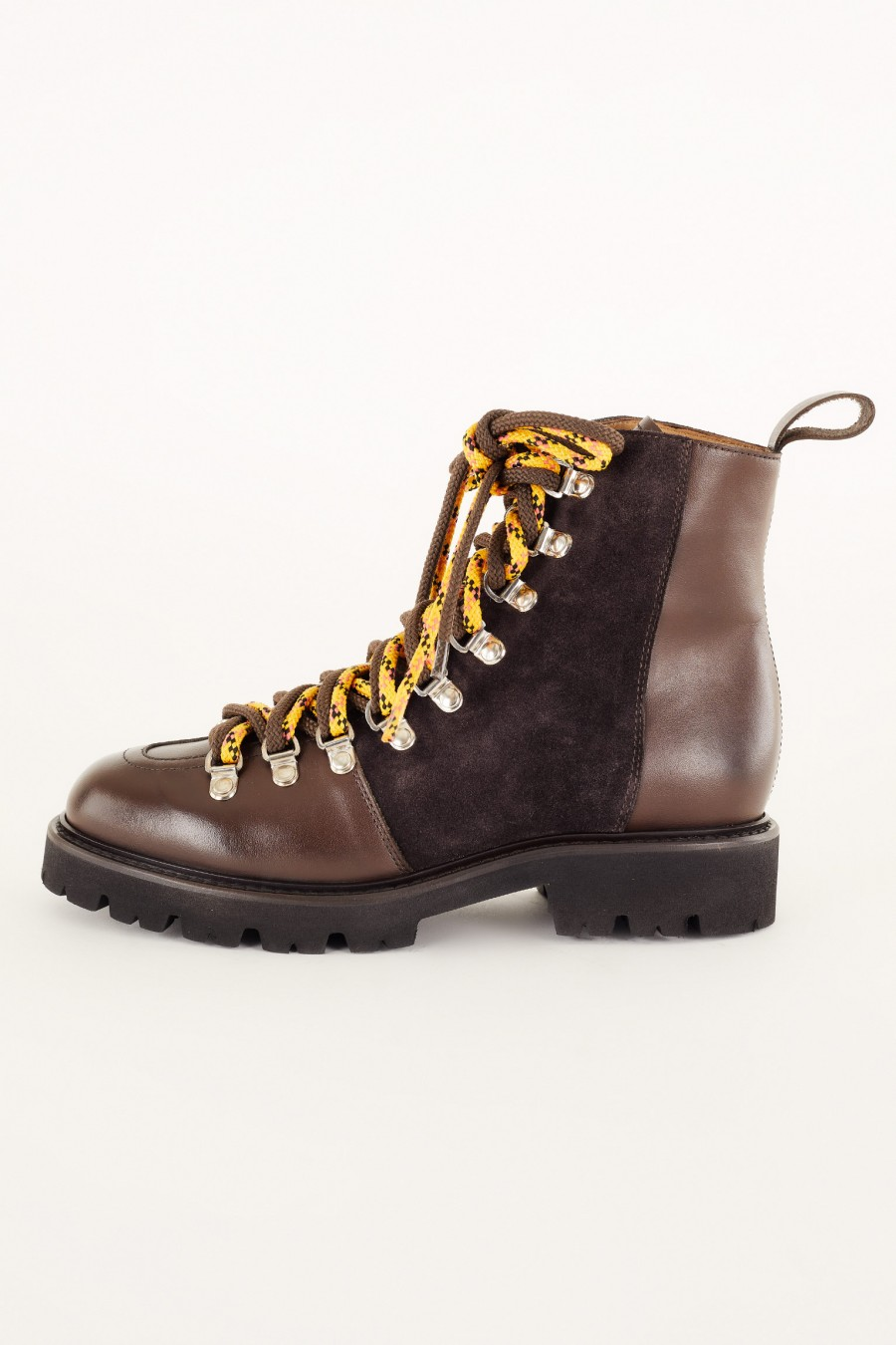 pedula-style boots with yellow laces