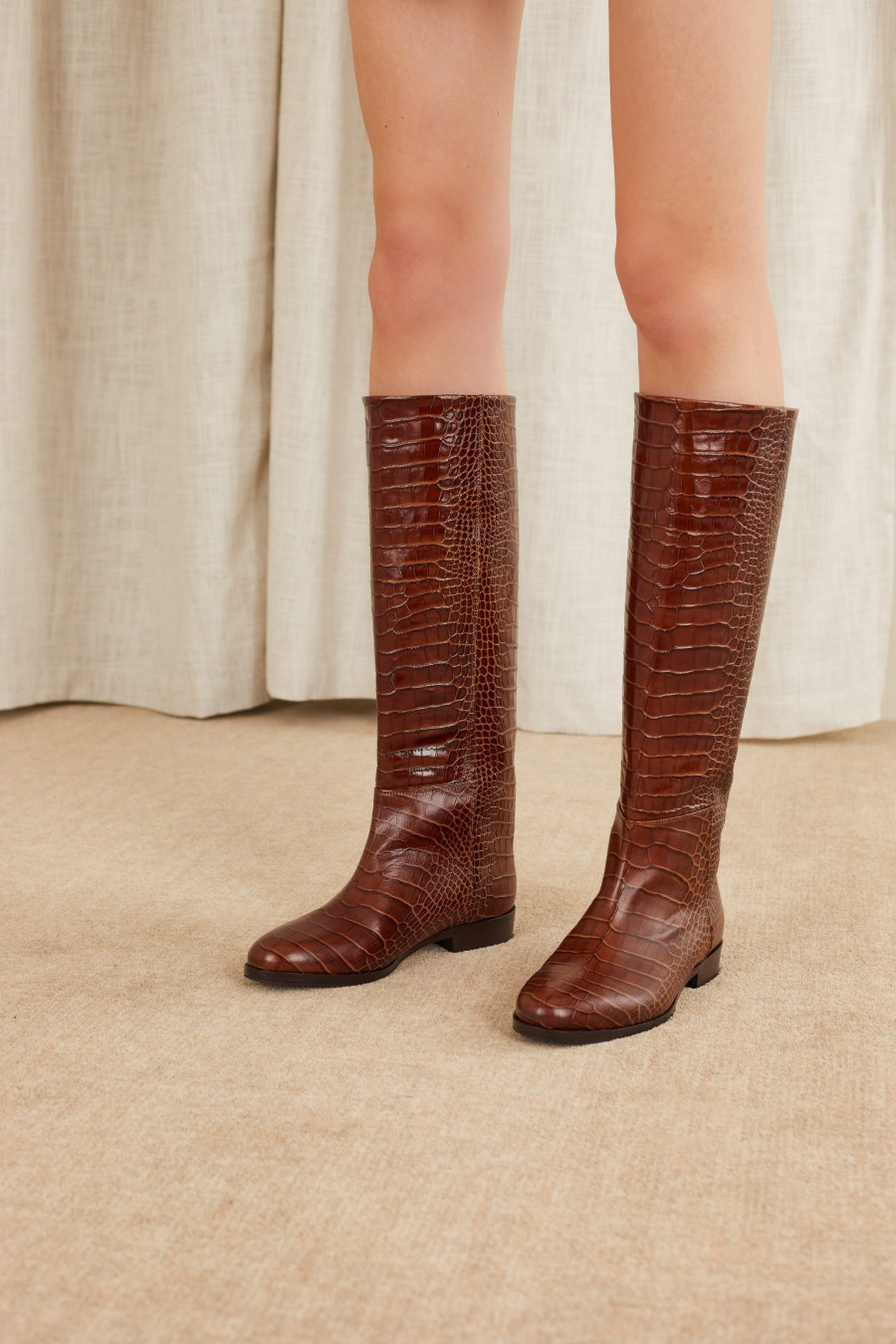 Croco embossed riding boots