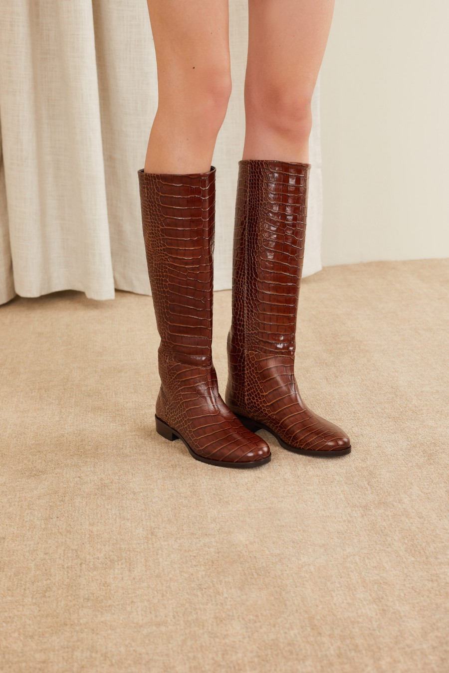 croco embossed brown leather boots