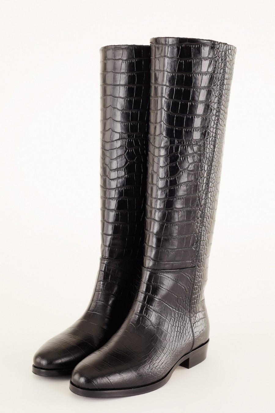croco embossed black riding boots