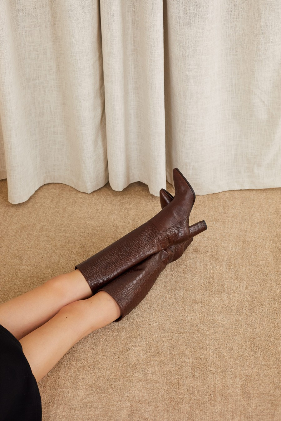 brown tube boots made in italy
