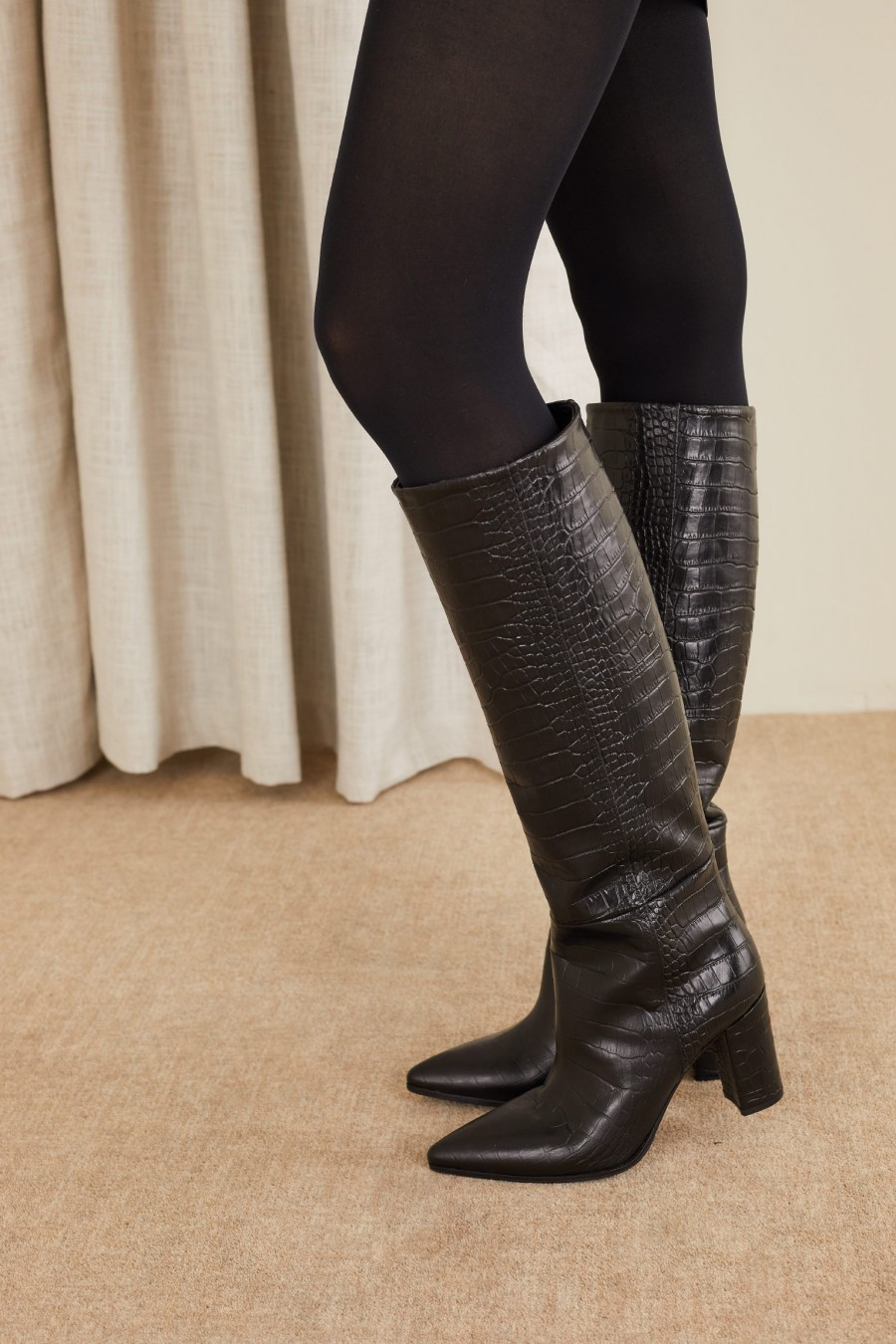 croco embossed black boots
