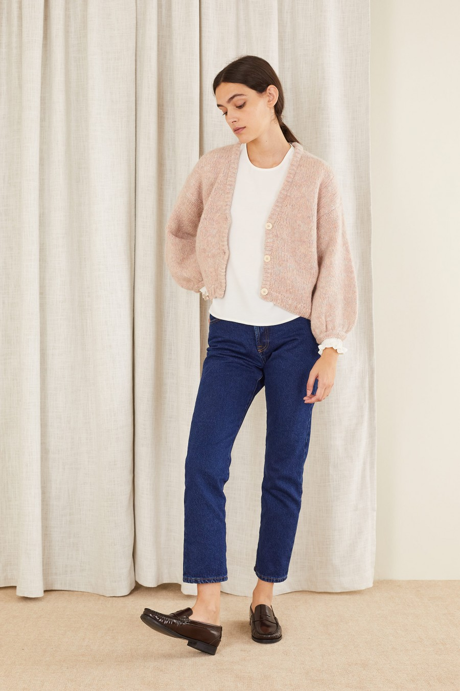 Cardigan with wide sleeves in mélange yarn