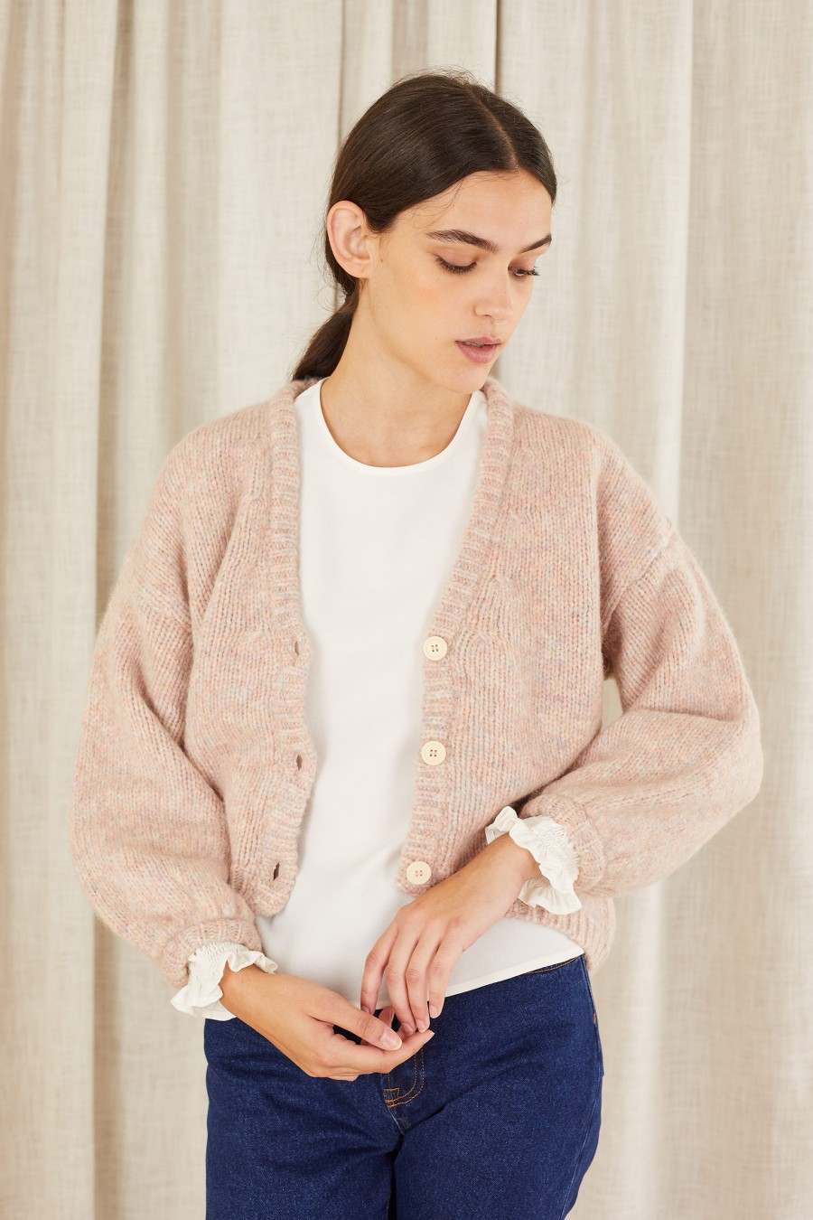 pink unicorn cardigan with white buttons